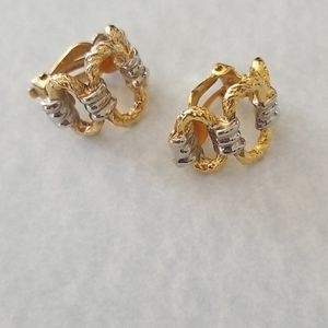 Monet gold and silver clip on earrings